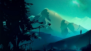 Preview wallpaper art, landscape, mountains, night, northern lights