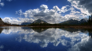 Preview wallpaper clouds, lake, mountains, panorama, reflection, surface