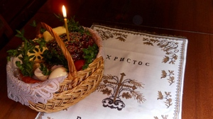 Preview wallpaper basket, cake, candle, christ has risen, eggs, holiday, napkin, pascha