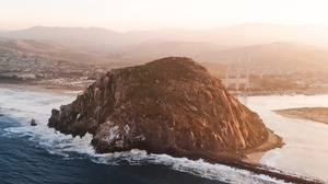 Preview wallpaper aerial view, island, nature, rock, sea