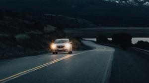Preview wallpaper car, mountain, nature, road, snowy