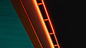 Preview wallpaper neon, starry sky, surface, wooden