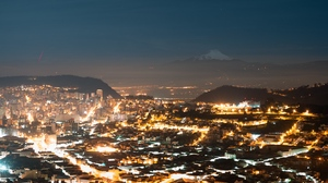 Preview wallpaper aerial view, city, light, lights, night city