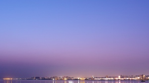 Preview wallpaper city, coast, lights, night, panorama