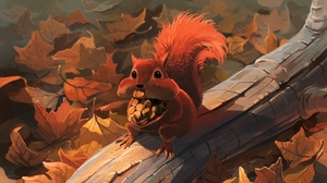 Preview wallpaper autumn, foliage, food, nuts, squirrel