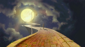 Preview wallpaper art, lights, moon, night, path, silhouettes