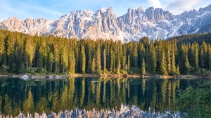 Preview wallpaper lake, mountain, peaks, reflection, sky, trees