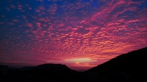 Preview wallpaper clouds, evening, hills, porous, sunset