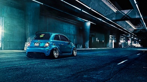 Preview wallpaper 500, abarth, blue, fiat, rear view