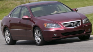 Preview wallpaper acura, asphalt, cars, front view, grass, red, rl, sedan, style, trees