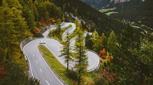 Preview wallpaper hairpin turn, mountains, road