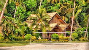 Preview wallpaper bungalows, huts, island, palm trees, philippines, samal
