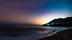 Preview wallpaper mountains, night, sea, shore, starry sky, stars