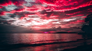 Preview wallpaper clouds, night, sea, shore, sunset