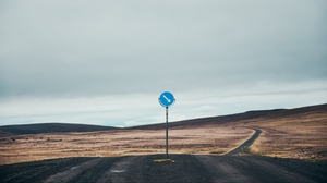 Preview wallpaper hills, relief, road, sign, signpost
