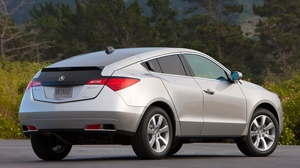Preview wallpaper 2009, acura, asphalt, cars, grass, side view, silver metallic, style, wood, zdx