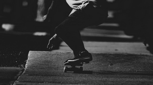 Preview wallpaper asphalt, bw, dark, skateboard, skateboarder
