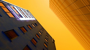 Preview wallpaper architecture, bottom view, buildings, facade, sky
