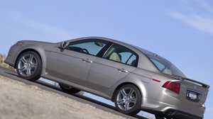 Preview wallpaper 2004, acura, asphalt, cars, metallic gray, side view, sky, style, tl