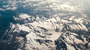 Preview wallpaper aerial view, clouds, mountains, peaks, sky, snowy