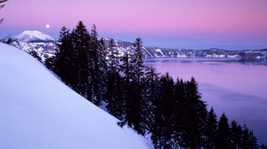 Preview wallpaper calmness, evening, mountain, slope, snow, trees, winter