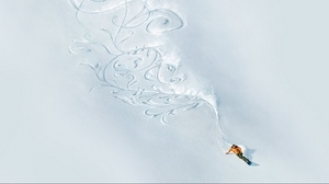 Preview wallpaper athlete, pattern, slope, snow, snowboard