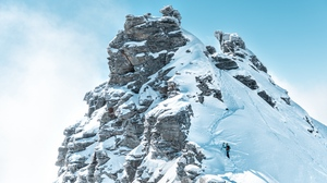 Preview wallpaper climber, mountain, peak, slope, snowy