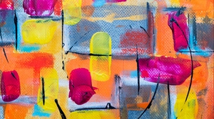 Preview wallpaper abstract, canvas, chaotic, colorful, paint, stains