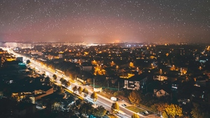 Preview wallpaper aerial view, city, cityscape, dark, night, starry sky