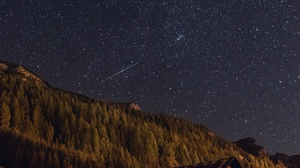 Preview wallpaper building, forest, night, starry sky, stars
