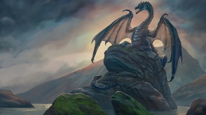 Preview wallpaper art, dragon, rock, stones
