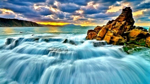 Preview wallpaper sea, sunset, surf, waterfall