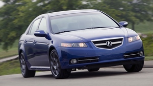 Preview wallpaper 2007, acura, asphalt, blue, cars, front view, grass, speed, style, tl, trees