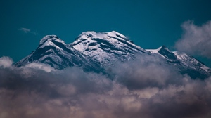 Preview wallpaper clouds, mountain, peak, snow, volcano