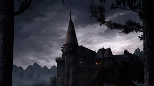 Preview wallpaper castle, eminence, light, night, trees, walls