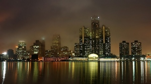 Preview wallpaper america, bay, buildings, detroit, embankment, houses, landscape, lights, metropolis, michigan, mist, night, ocean, reflection, sea, skyscrapers, usa, view, water
