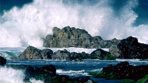 Preview wallpaper sea, splashes, stones, waves