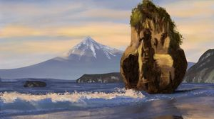 Preview wallpaper art, foam, mountain, peak, rock, sea