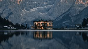 Preview wallpaper architecture, building, lake, mountains, reflection