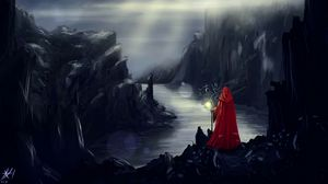 Preview wallpaper art, cape, red, river, rocks, silhouette