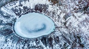 Preview wallpaper aerial view, ice, lake, landscape, winter
