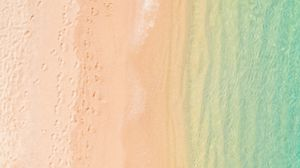 Preview wallpaper aerial view, beach, sand, sea, waves