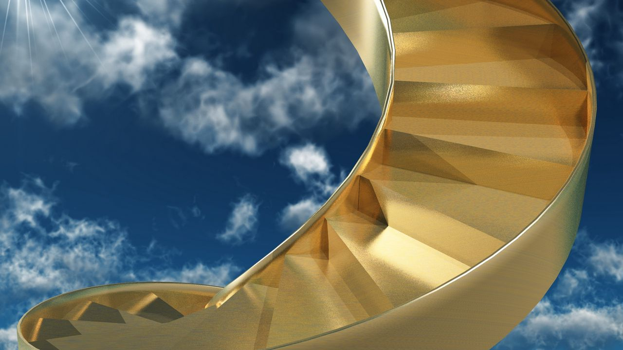 sky gold spiral stairs