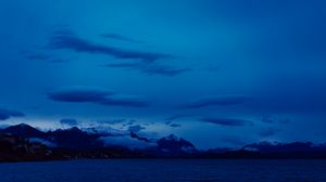 Preview wallpaper clouds, mountains, night, sea, sky