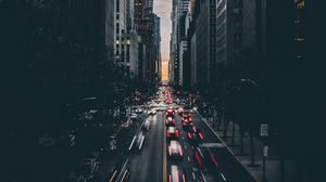Preview wallpaper architecture, buildings, city, dark, road, traffic