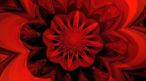 Preview wallpaper abstraction, digital, flower, fractal, red