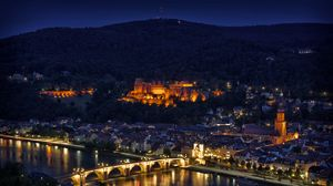 Preview wallpaper bridge, germany, heidelberg, height, lights, night, panorama, reflection, river, type