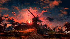 Preview wallpaper art, mill, particles, road, sky