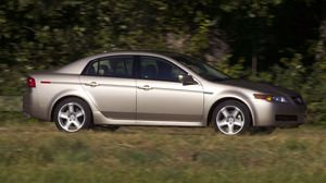 Preview wallpaper 2004, acura, cars, grass, nature, side view, silver metallic, style, tl, trees