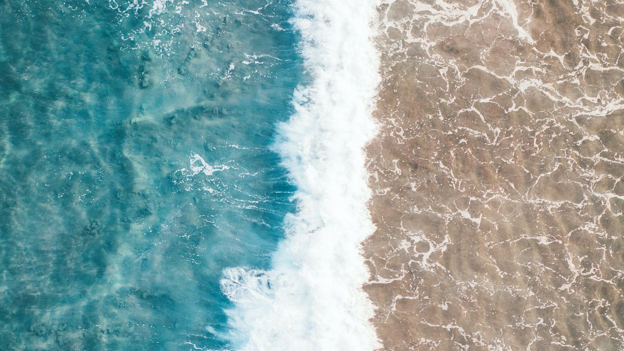 water wave sand aerial view sea